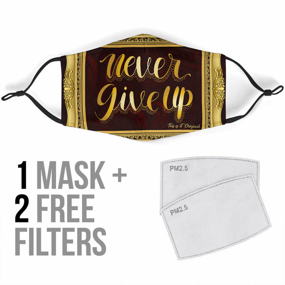 Magical Never Give Up In Luxury Gold Frame Protection Face Mask