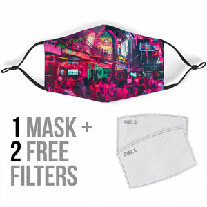 Real Neon In City With Sexy Women's Design Design Protection Face Mask
