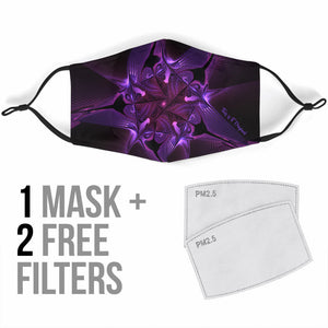 Psychedelic Violet Star Mesmerize Design Protection Face Mask