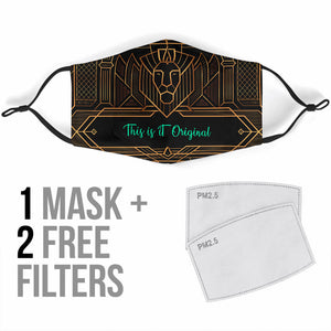 Luxurious Golden Art Deco Design One Protection Face Mask