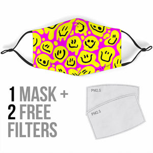 Funny Smile Emoticon Yellow And Pink Design Protection Face Mask