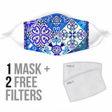 Traditional White & Blue Square Mosaic Design Four Protection Face Mask