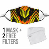 Racing Style Orange & Yellow Stripes Vibes Protection Face Mask