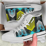 Racing Style Blue & Yellow Stripes Vibes High Top Shoes
