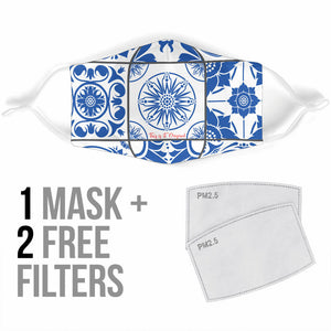 Traditional Blue & White Ornament Design in Square Protection Face Mask