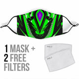 Racing Style Black & Neon Green Protection Face Mask