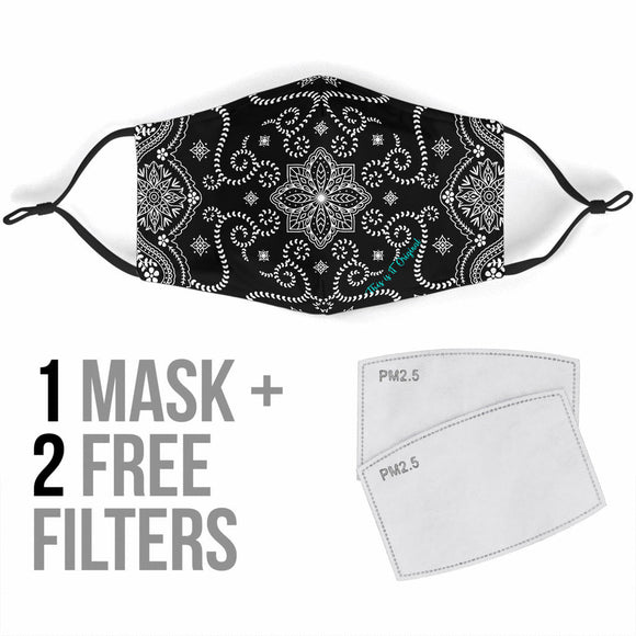 Black Bandana Design With Paisley Two Protection Face Mask