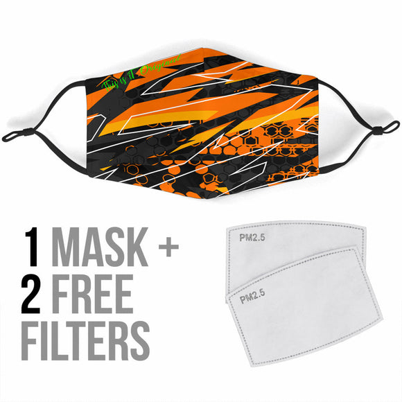 Racing Style Black & Orange 2 Protection Face Mask