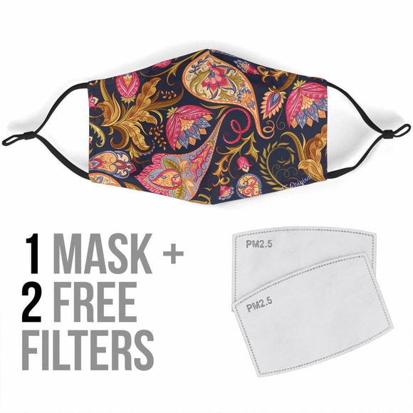 Bestseller Dark Blue & Pink Paisley Pattern Protection Face Mask