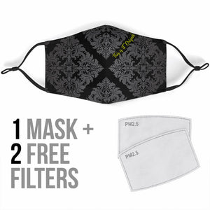 Luxury Damask Design Black & Grey Protection Face Mask
