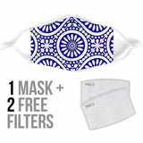 Traditional Blue & White Mandala Design Four Protection Face Mask