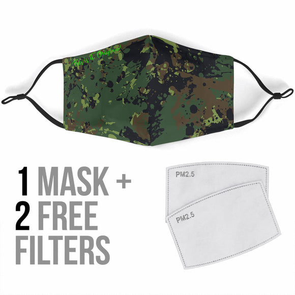 Military Grunge Green Army Protection Face Mask