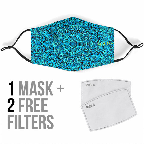 Shinny Light Blue Mandala Design Protection Face Mask