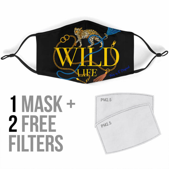 Luxurious Design Wild Life Chains With Leopard Style Protection Face Mask