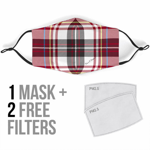 Special Tartan Design Red & Black Protection Face Mask