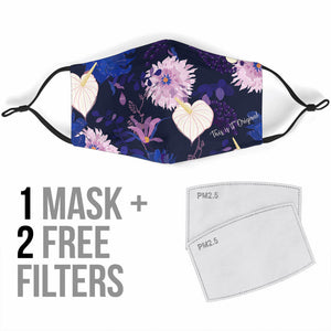 Blue & Pink Flowers Protection Face Mask