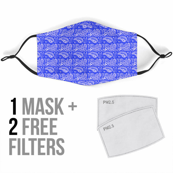 Amazing Blue Masterpiece Paisley Protection Face Mask