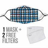Luxury Classic Black & Blue Houndstooth Protection Face Mask