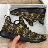 Black & Gold Geometric Mesh Knit Sneakers