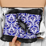 Traditional Blue & White Ornamental Vibes Design Four Chunky Boots