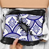 Traditional Blue & White Ornamental Vibes Design One Chunky Boots