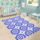 Luxury Traditional White & Blue Ornaments Design Two Area Rug