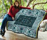 Luxury Persian Carpet Style in Light Blue Premium Quilt