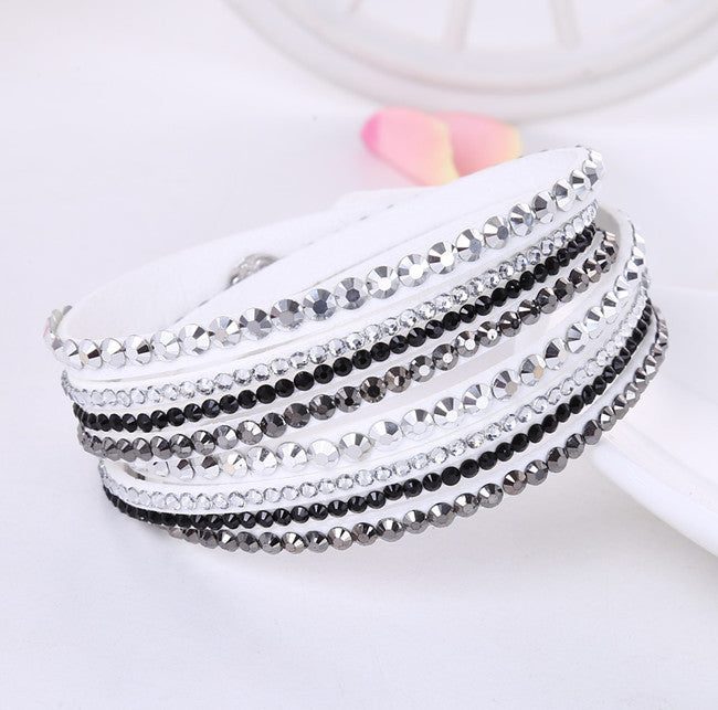 2019 new leather bracelet rhinestone crystal bracelet