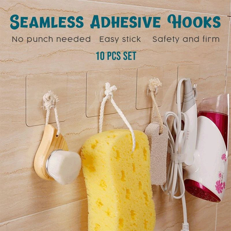 Seamless Reusable Self-Adhesive Hooks (15 PCS)