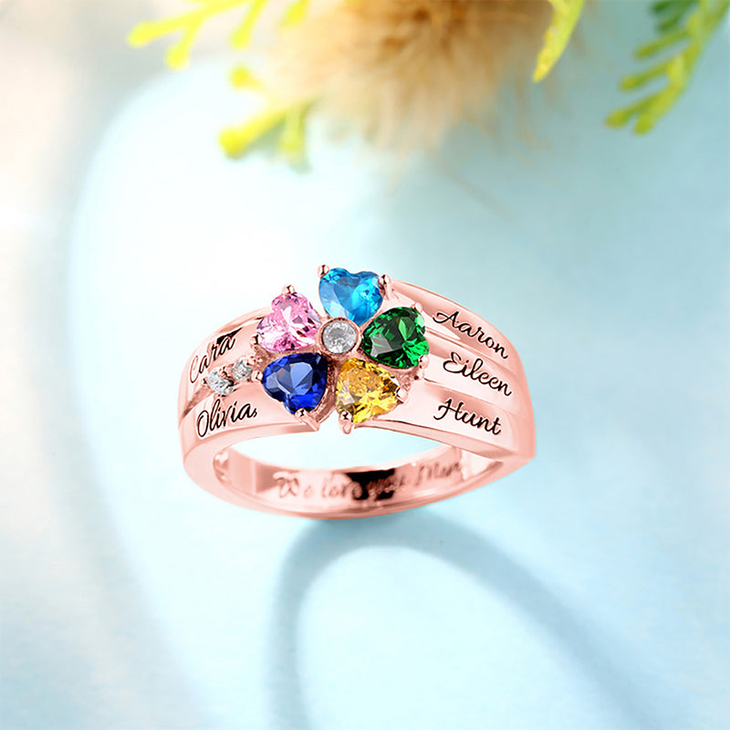 5 heart shaped birth stone ring female jewelry Valentine's Day gift