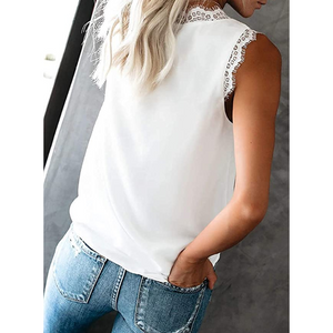 (🔥2020 HOT🔥)Women's V Neck Lace Trim  Loose Sleeveless Blouse Shirts