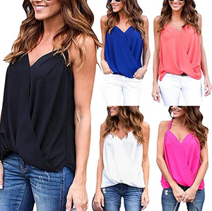 erholi Women Casual Camisole Pullover Tanks Tops V-Neck Solid Vest Tanks & Camis
