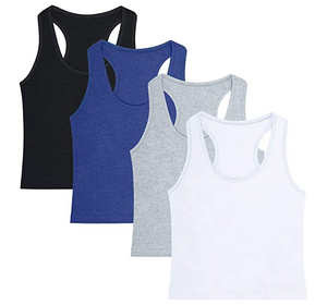 4 Pieces Women's Crop Tops Cotton Basic Tank Tops Racerback Sleeveless Sports Workout Crop Tank Tops