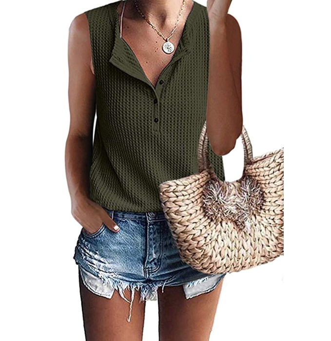Womens Waffle Knit Tunic Tops V Neck Henley Tank Tops Sleeveless Button Up Shirts