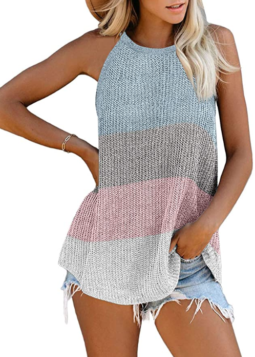 Women's Scoop Neck Knit Tank Tops Casual Loose Sleeveless Cami Blouse Shirts