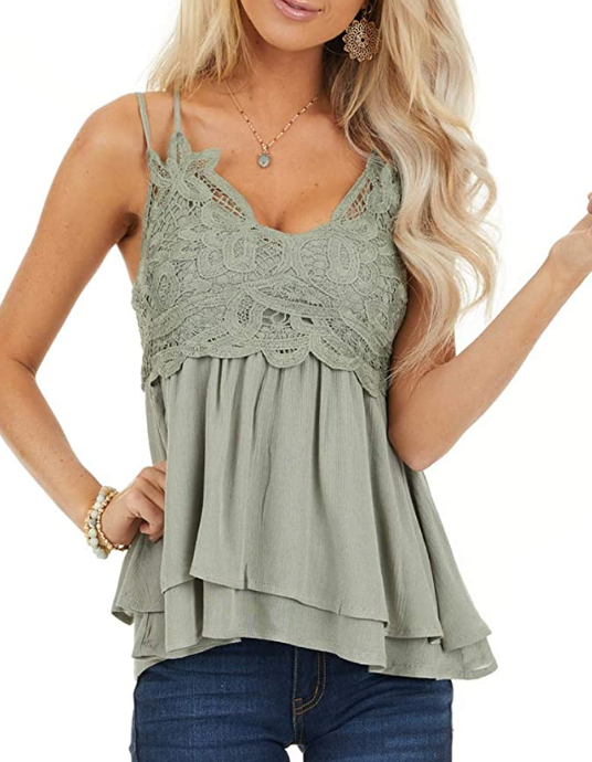 Women Lace V Neck Chiffon Cami Tank Top Spaghetti Strap Sleeveless Shirts