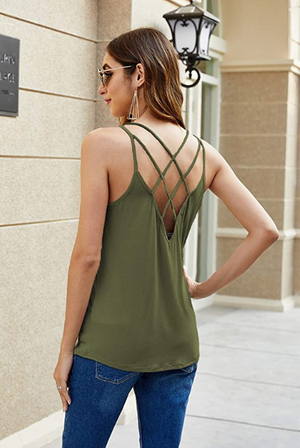 Women's Summer Spaghetti Strap Shirts Blouse Criss Cross Backless Cami Tank Tops