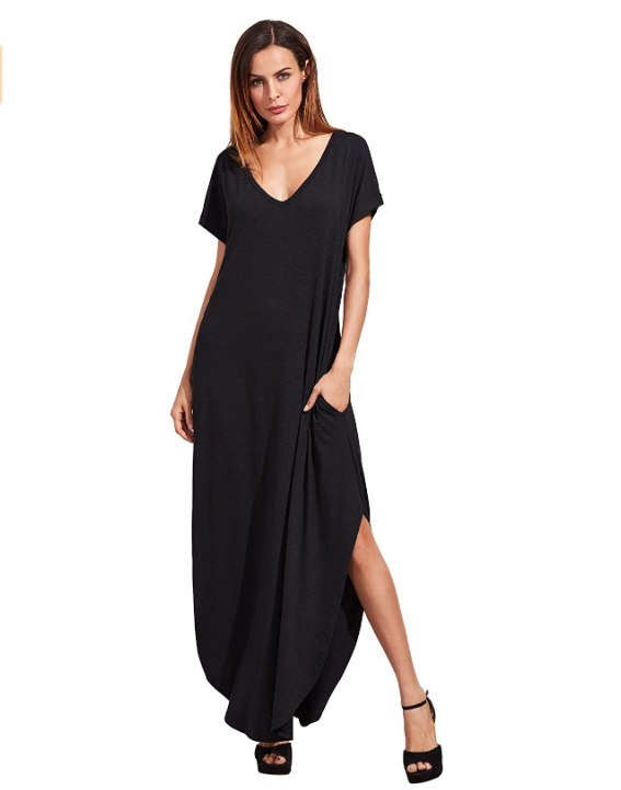 V Neck Side Split Beach Long  Dress