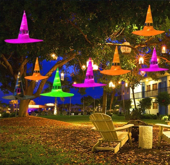 🔥(BUY 5 GET 1 AND FREE SHIPING)-HALLOWEEN Decorations Glowing Witch Hat Decorations 2 in 1 Hanging/Wearable