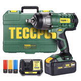 "Impact Wrench, TECCPO 4.0Ah Battery Cordless Impact Wrench, Max Torque 350Nm(3100In-lbs), 1/2"" All-metal Hex Chuck,  0-2000RPM Variable Speed, 3Pcs Driver Impact Sockets, Toolkit Included - TDIW01P"