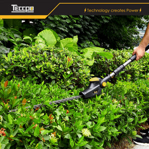 TECCPO 28V 2.0Ah Wireless Electric Pole Chain Saw, Blade Length 600mm, Cutting Thickness 20mm, Double Brake Blade, Anti-Collision Head, Triple Safety Start Button - TDTS01G