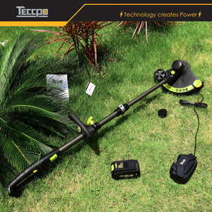 TECCPO 28V 4.0Ah Cordless Trimmers, Adjustable Cutting Diameter 280mm-330mm, Automatic Line Release System, 90 ° Head Rotation, Auxiliary Wheel -TDLT03G