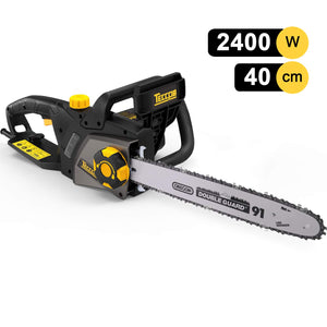 TECCPO 2400W Corded Chainsaw, 40 cm Oregon Bar and Chain, Chain Speed 15m/s, Tool-Free Adjustment Chain Tension, Double Safety Switch and Mechanical Brake - TACS01G