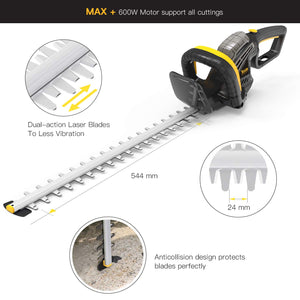TECCPO Hedge Trimmer, 600W Electric Hedge Trimmer, Blade Length 610mm, 24mm Tooth Opening, 180° Adjustable, 5-Angle Operation, Integrated Blade Tip Protector - TAHT01G