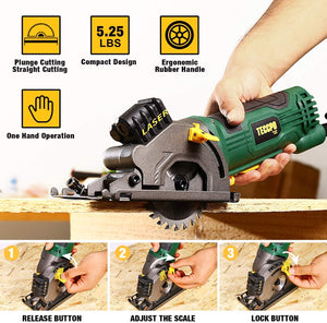 "TECCPO 3-1/3"" 3500RPM Compact Circular Saw with Laser Guide, 3 Saw Blades for Wood, Tile, Aluminum and Plastic Cuts - TAPS22P"