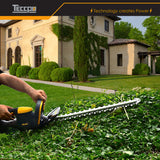 Hedge Trimmer, 28V TECCPO 2.0Ah Wireless Hedge Trimmer, Blade Length 600mm, Cutting Thickness 20mm, Double Brake Blade, Anti-Collision Head, Triple Safety Start Button - TDHT01G