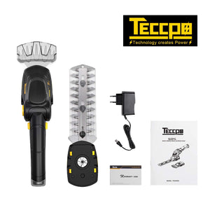 TECCPO Cordless Grass Shear, 7.2V 1.5Ah Cordless Shrub Shear and Hedge Trimmer, Quickly Load for 80min, Rotating Handle, 90mm Cutting Width. - TDGS03G