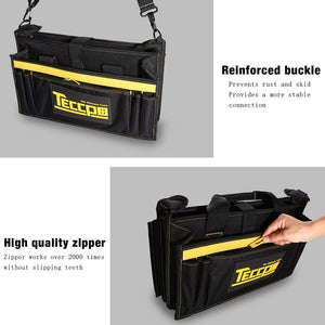 TECCPO Heavy Duty Bag, Strong Bag Storage with Wear Resistant Rubber Base, Adjustable Shoulder Strap, Rubber Handles, 8 External Pockets, 8 Internal Pouches - THTB02B
