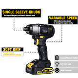 TECCPO 18V Impact Driver with 220Nm Brushless Impact Driver 18V, 2 Batteries 2.0Ah, 30min Fast Charger, 6.35mm Keyless Chuck, Built-in LED Lamp, 0-2900rpm - TDID02P