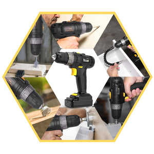 "TECCPO 12V Cordless Drill Driver witj 2pcs 2.0Ah Batteries/Power Source, 3/8"" Chuck Max, Torque 240In-lbs, 20+1 Position, LED Light, 27pcs Accessories -TECCPO TDCD02P"